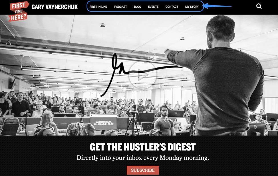 Gary Vaynerchuk Website Example
