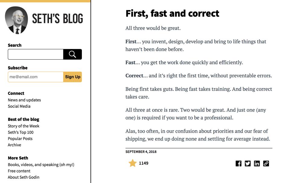 Seth Godin Blog Example